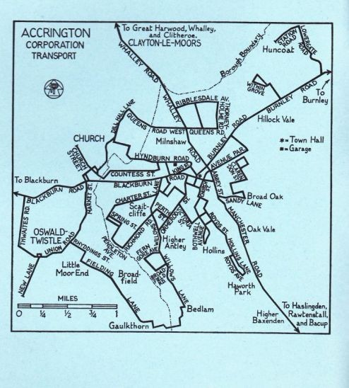 Accrington Corporation Transport Route Map 1973
