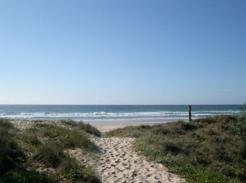 The sandy path down to Peregian Beach