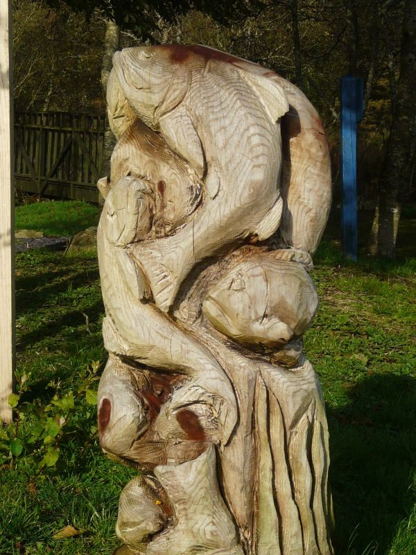 Fish carved out of a tree stump.