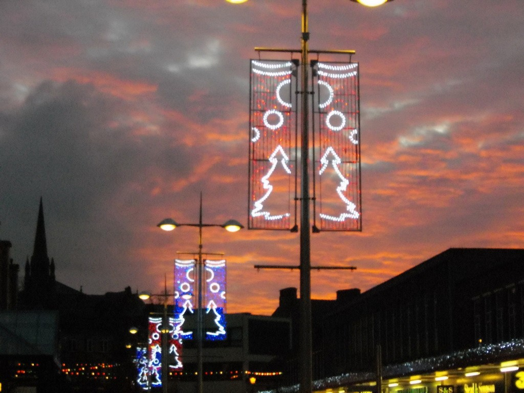 sunset over broadway boulevard wi christmas lights thrown in ..