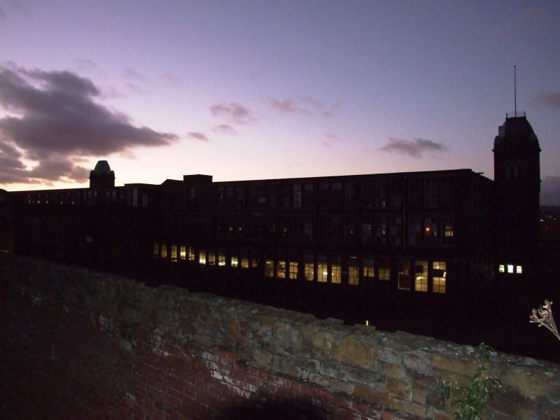 The sun setting behind imperial mill