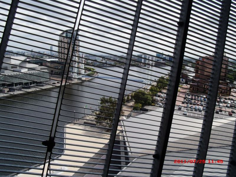 Looking down at Salford Quays.