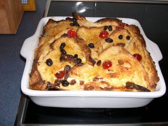 A lovely home made bread and butter pudding.